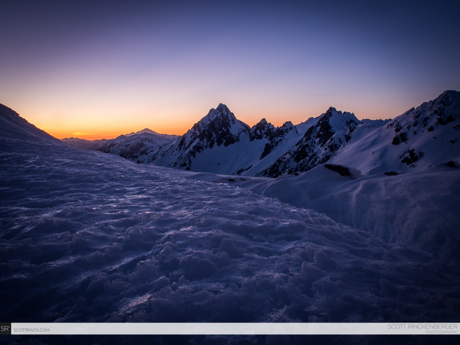 Incredible sunset colors and soft tones wash across the North Cascades from our camp.