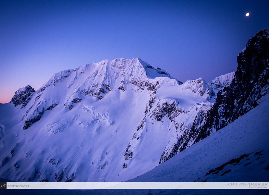 The North Face of Spider Mountain at dawn. We climbed the ramp on the left side and skied the direct line in the center.
