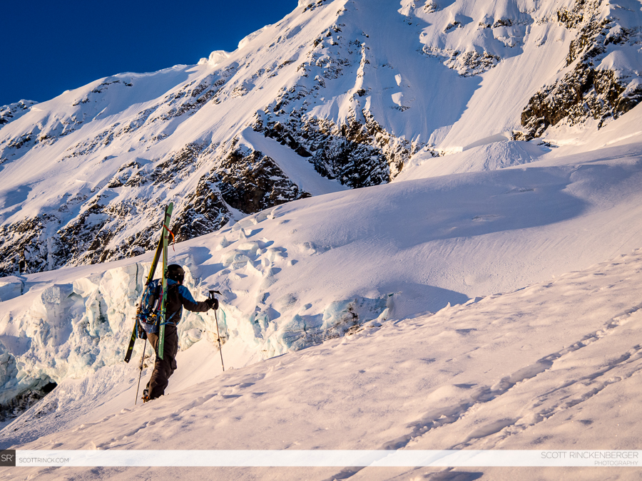 Brian Fletcher climbing the lower Spider Glacier en route to the technical bergschrund and upper faces.