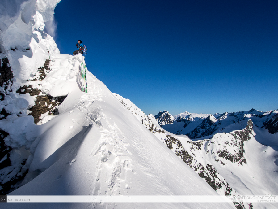 Brian Fletcher finding the path of least resistance across the huge bergschrund blocking the upper face.