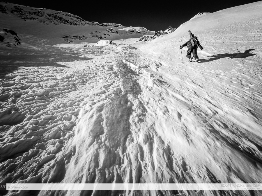 Brian Fletcher climbing the large upper face of Spider Mountain in great stable snow conditions.