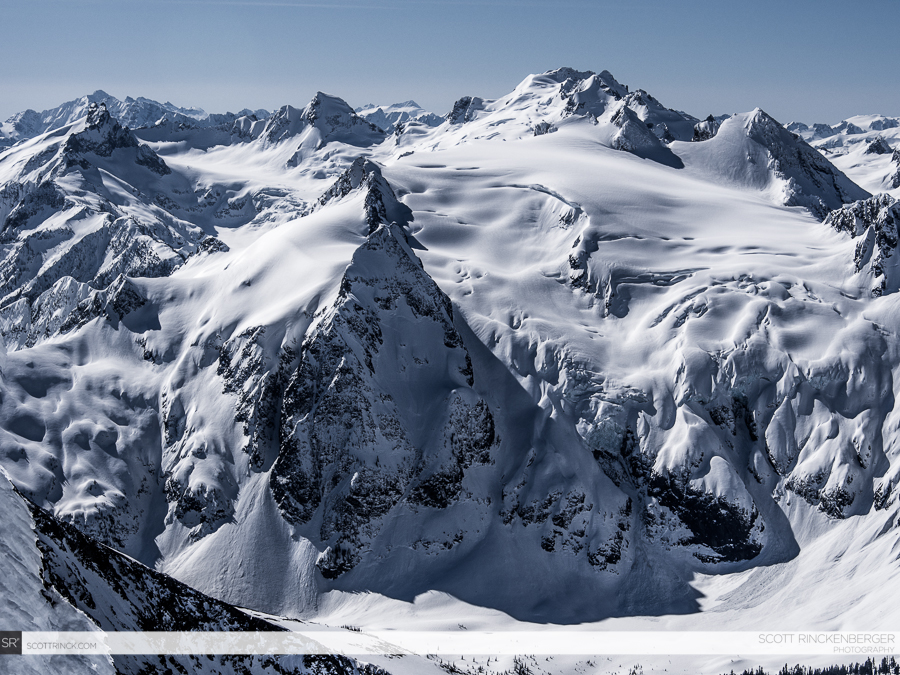 Dome Peak and the surrounding high peaks of the North Cascades as seen from the summit of Spider Mountain.