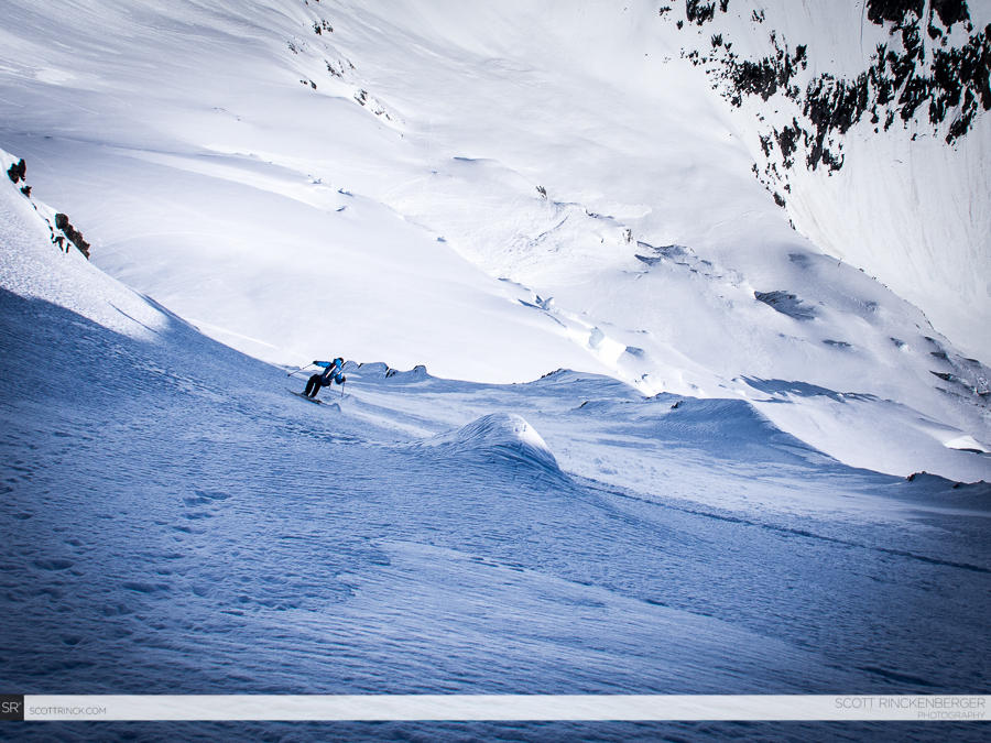 Brian Fletcher skis the steep and exposed north face of Spider Mountain in perfect conditions for ski mountaineering.