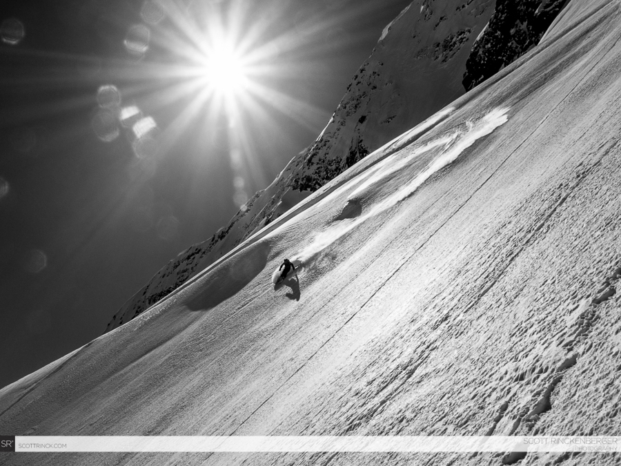 Brian Fletcher making smooth fast turns on the stress-free spider glacier below the north face.