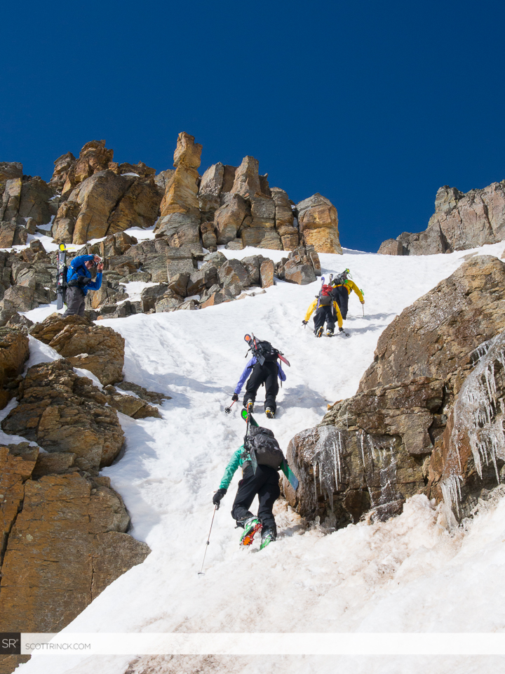 The team climbing the Vermillion Dollar Couloir