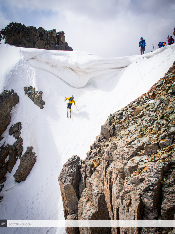 Chris Davenport drops into the 50 degree upper section of the Vermillion Dollar Couloir