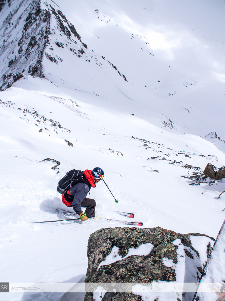 Chris Davenport drops into the north face of Casco Peak