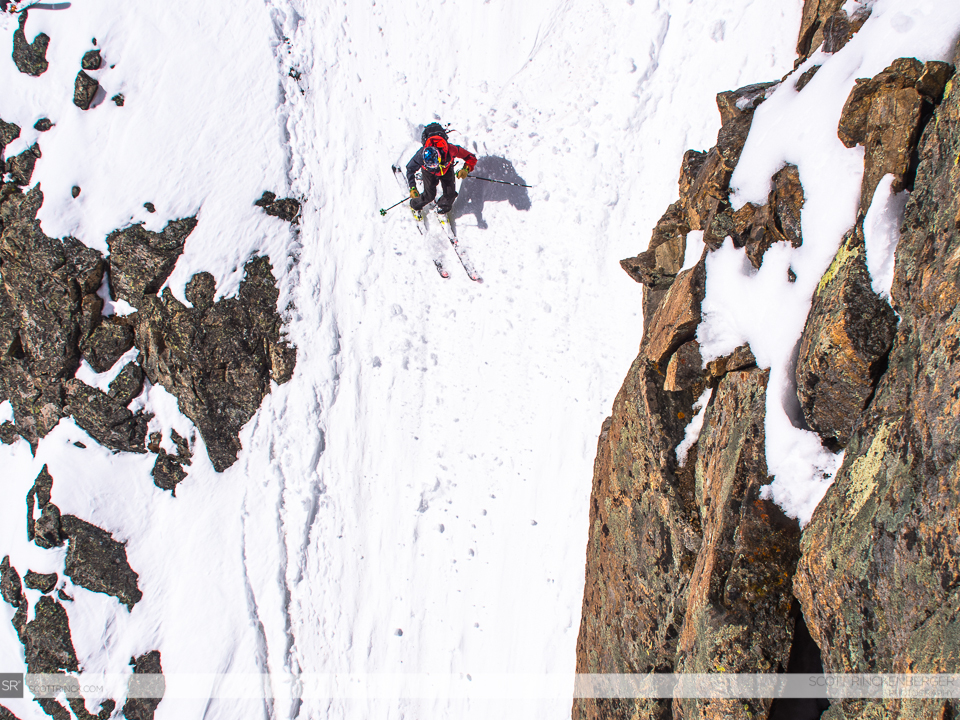 Chris Davenport ripping the east couloir on Oklahoma