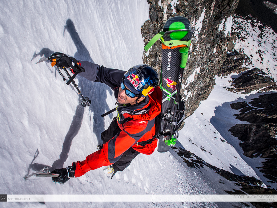 Chris Davenport in the steep refrigerator couloir on Ice Mountain.