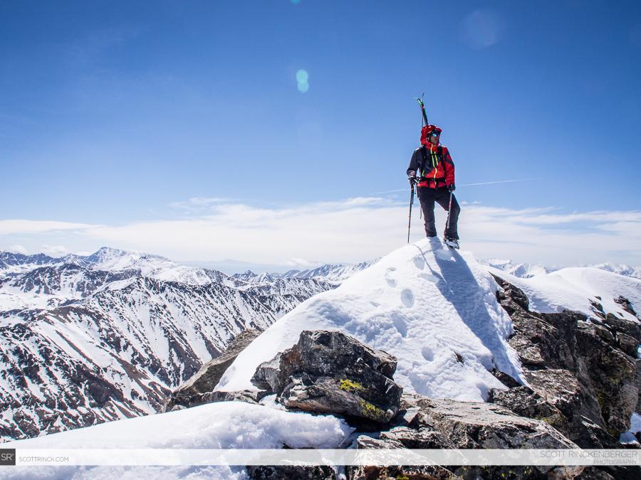 Chris Davenport on the summit of Ice Mountain