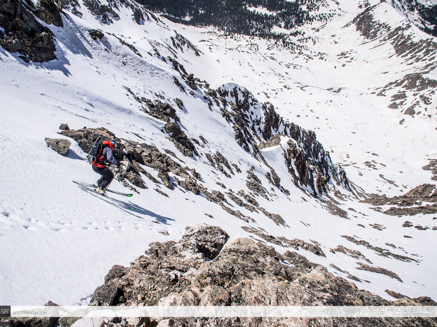 Chris Davenport skiing from the summit of Ice Mountain
