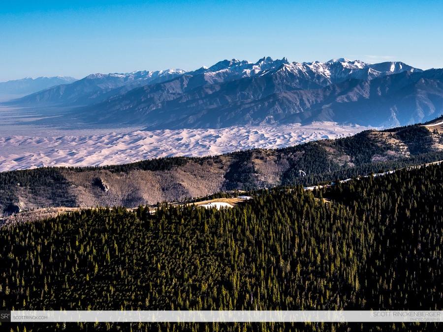 The Crestone Group and great sand dunes from California Peak
