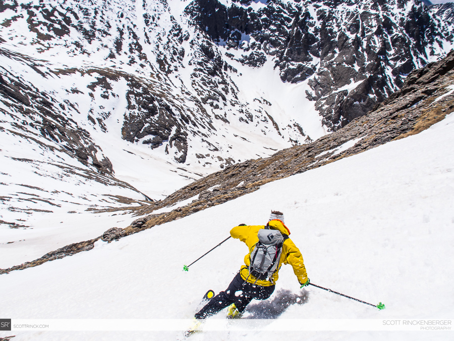 Chris Davenport skiing the south face of Columbia Point