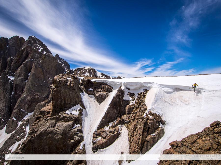 Chris Davenport skiing a classic line below Crestone Peak