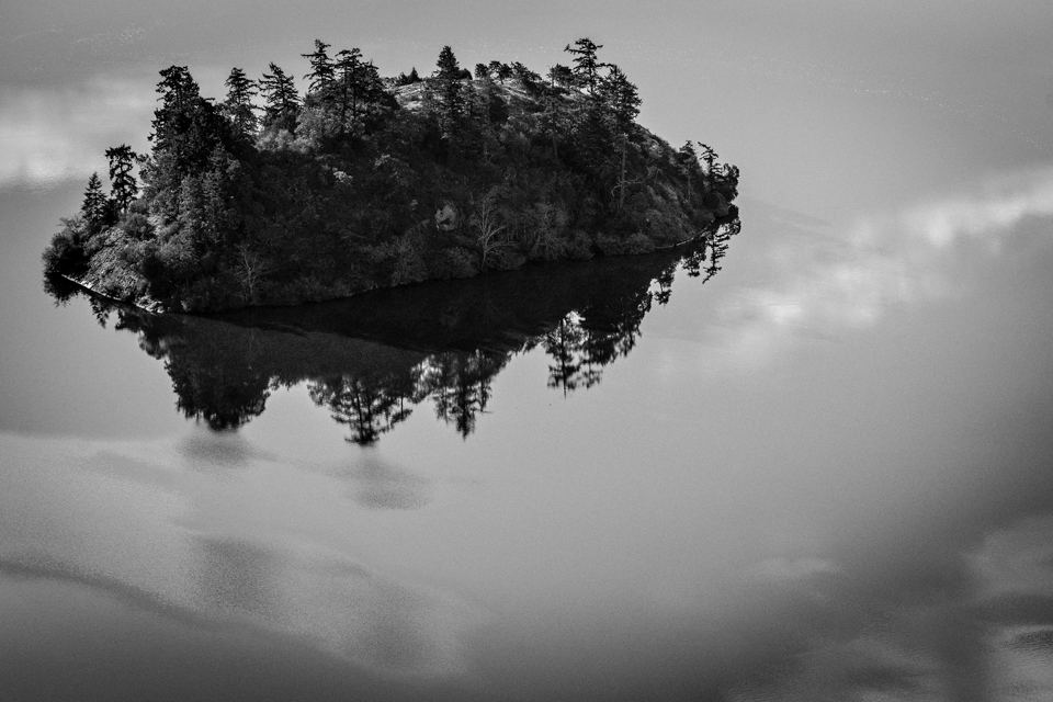 Island in Glassy Lake from Mount Erie, WA