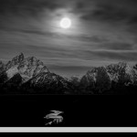 Full moon over the Tetons and Snake River, Grand Teton NP, Wyoming
