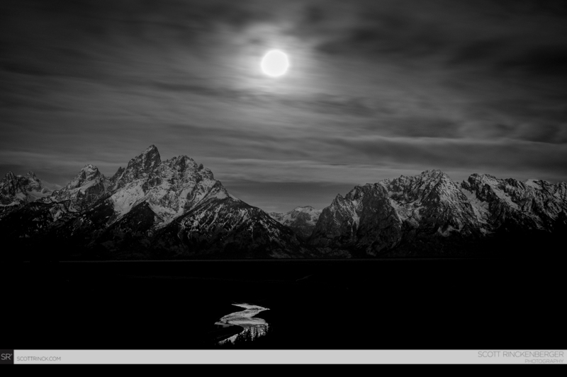 Full moon over the Tetons and Snake River, Grand Teton NP, Wyoming