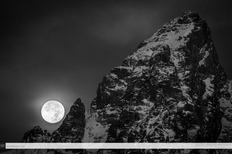 Full Moon and the Grand Teton, Grand Teton NP, Wyoming