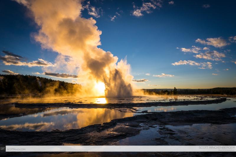 Sunset at Grand Fountain Geyser, Yellowstone NP, Wyoming