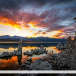 Sunset and Mineral Formations, Mono Lake, California