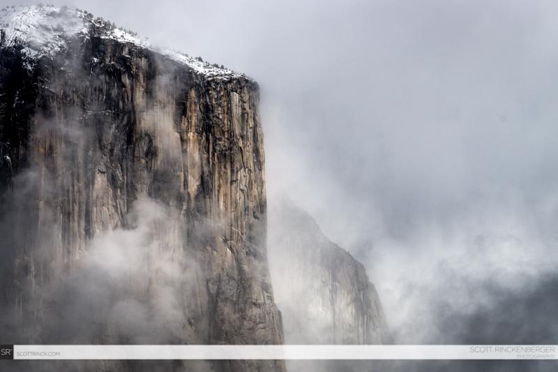Snow and fog on El Capitan, Yosemite NP, California
