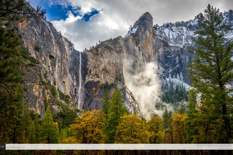 Fall Weather and Bridalveil Falls, Yosemite NP, California