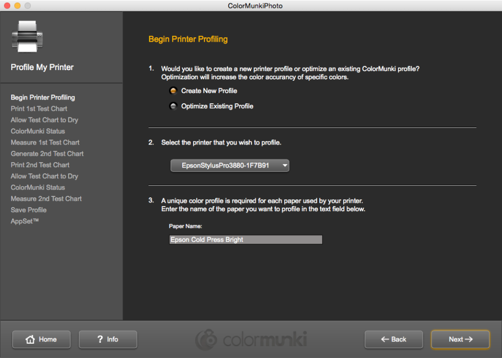 Color Munki Printer Profile Settings