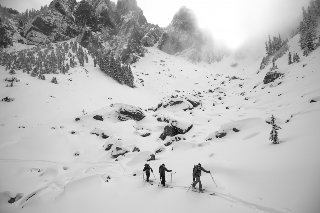 Skinning across the Thunder Creek basin to find some more goods after an amazing powder lap through the Slot Couloir on Snoqualmie.