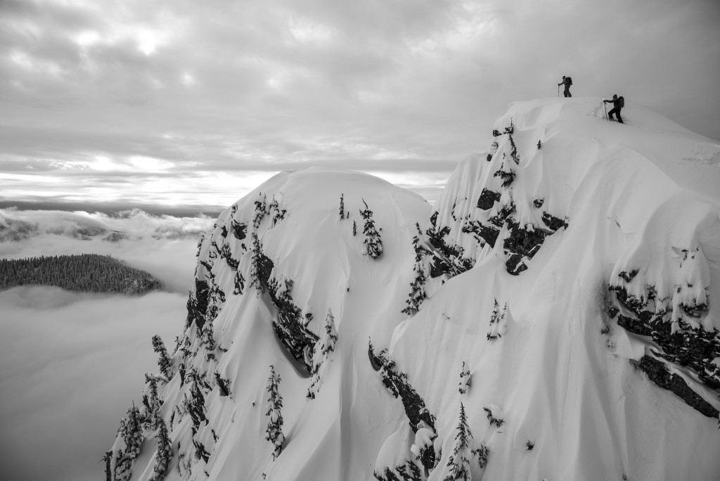 Kameron Harris and Drew Tabke reach the summit of Guye Peak.
